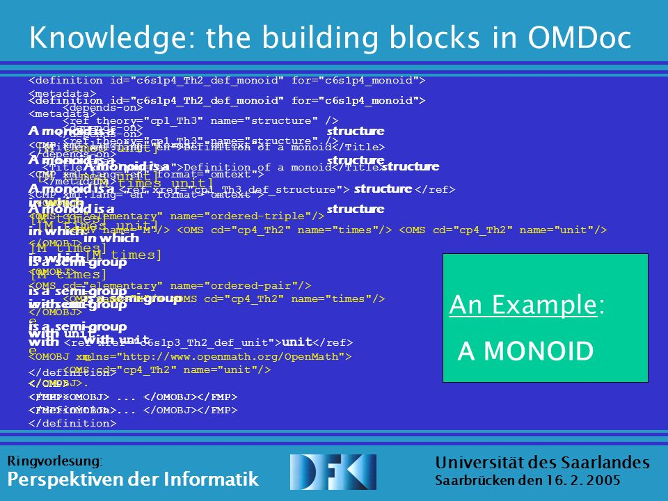 Source: Erica Melis Universität des Saarlandes Saarbrücken den 16. 2. 2005 Ringvorlesung: Perspektiven der Informatik Knowledge: the building blocks i