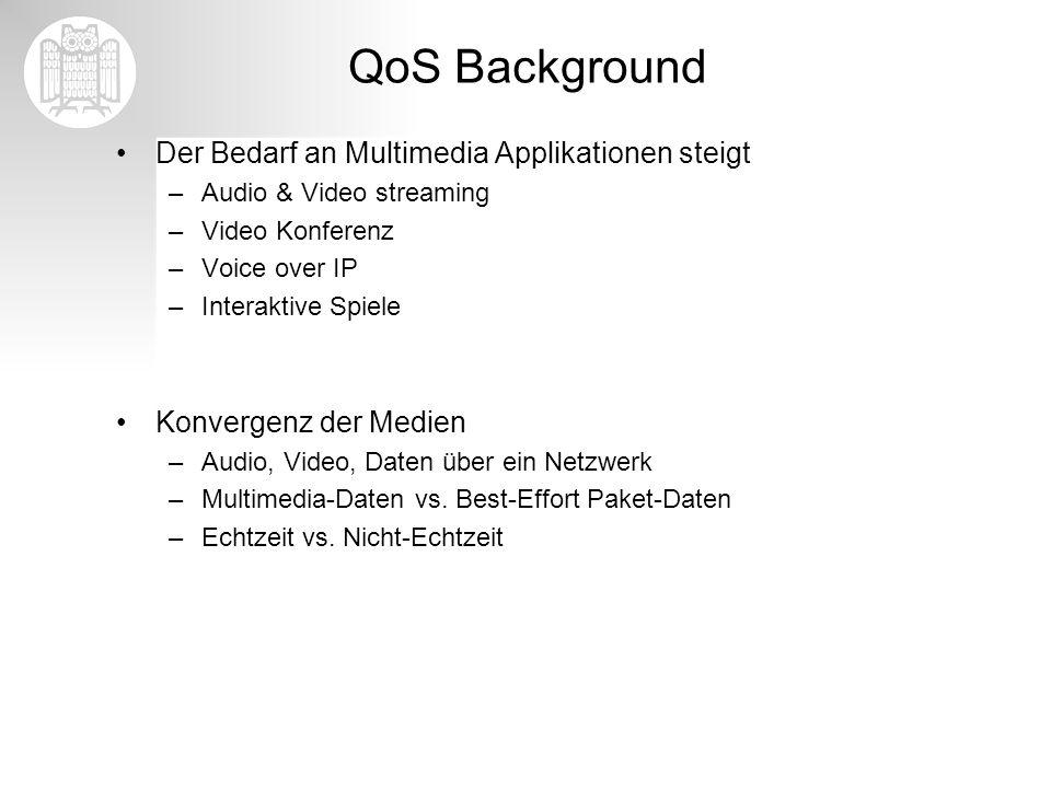 QoS Background Der Bedarf an Multimedia Applikationen steigt –Audio & Video streaming –Video Konferenz –Voice over IP –Interaktive Spiele Konvergenz d