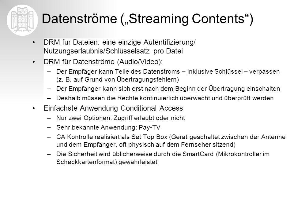 Datenströme (Streaming Contents) DRM für Dateien: eine einzige Autentifizierung/ Nutzungserlaubnis/Schlüsselsatz pro Datei DRM für Datenströme (Audio/