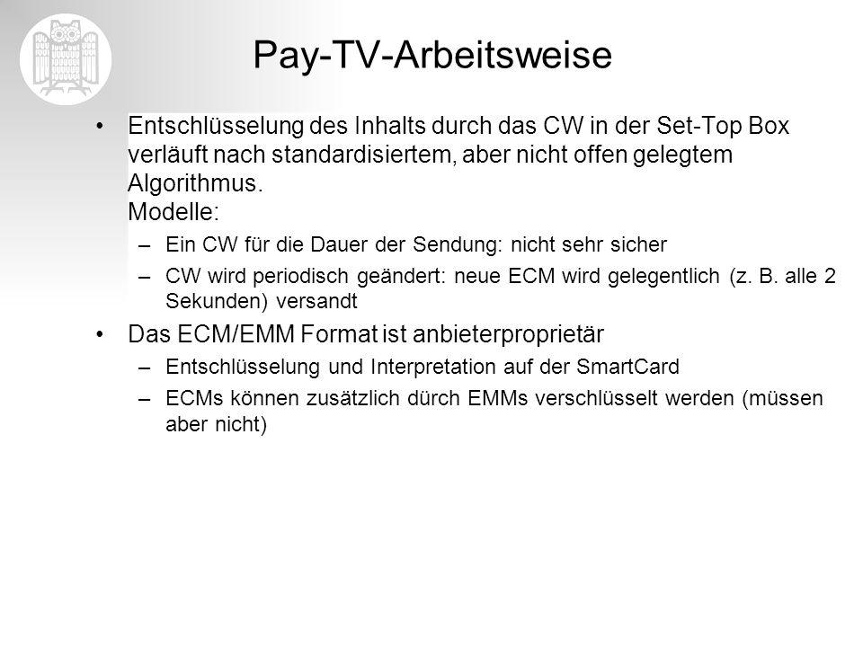 Pay-TV-Arbeitsweise Entschlüsselung des Inhalts durch das CW in der Set-Top Box verläuft nach standardisiertem, aber nicht offen gelegtem Algorithmus.