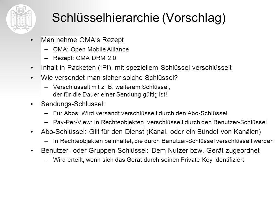 Schlüsselhierarchie (Vorschlag) Man nehme OMAs Rezept –OMA: Open Mobile Alliance –Rezept: OMA DRM 2.0 Inhalt in Packeten (IP!), mit speziellem Schlüss