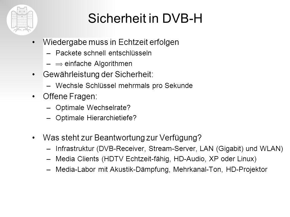 Sicherheit in DVB-H Wiedergabe muss in Echtzeit erfolgen –Packete schnell entschlüsseln – einfache Algorithmen Gewährleistung der Sicherheit: –Wechsle
