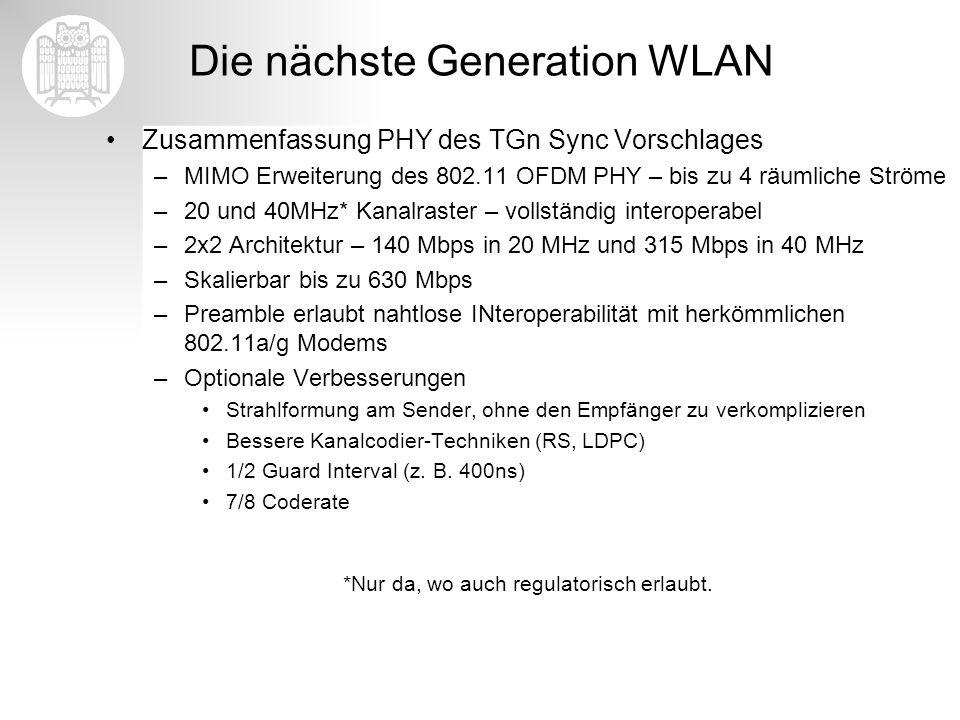 Die nächste Generation WLAN Zusammenfassung PHY des TGn Sync Vorschlages –MIMO Erweiterung des 802.11 OFDM PHY – bis zu 4 räumliche Ströme –20 und 40M