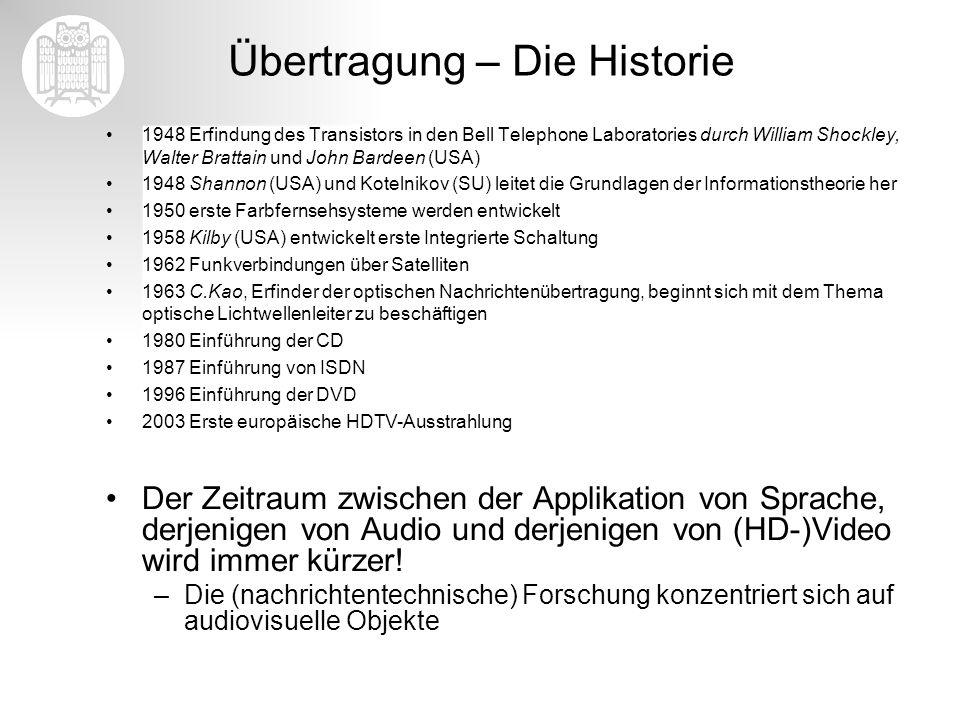 Übertragung – Die Historie 1948 Erfindung des Transistors in den Bell Telephone Laboratories durch William Shockley, Walter Brattain und John Bardeen