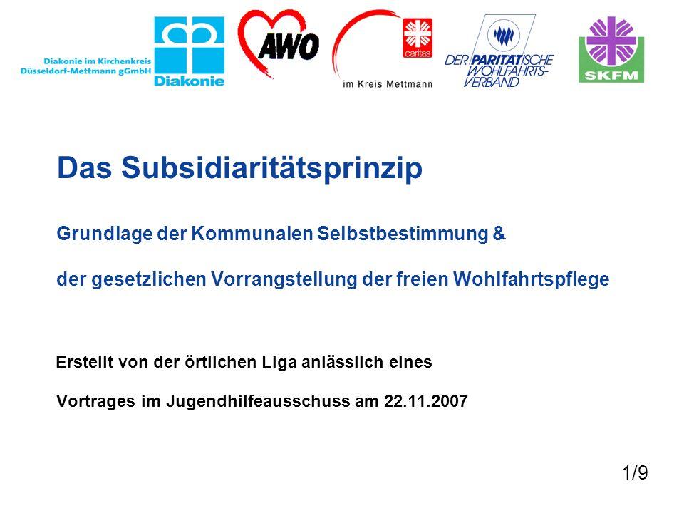 Das Subsidiaritätsprinzip Grundlage der Kommunalen Selbstbestimmung & der gesetzlichen Vorrangstellung der freien Wohlfahrtspflege Erstellt von der ör