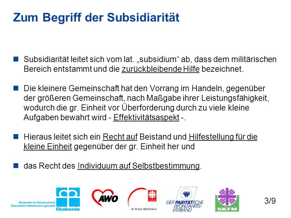 Zum Begriff der Subsidiarität Subsidiarität leitet sich vom lat. subsidium ab, dass dem militärischen Bereich entstammt und die zurückbleibende Hilfe
