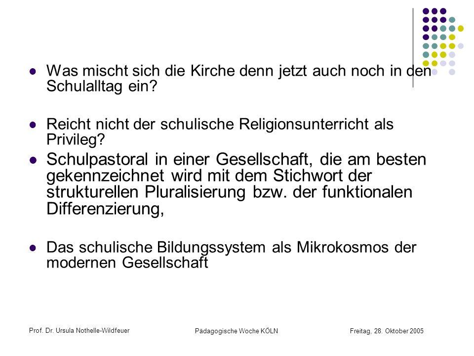 Prof. Dr. Ursula Nothelle-Wildfeuer Pädagogische Woche KÖLN Freitag, 28. Oktober 2005 Was mischt sich die Kirche denn jetzt auch noch in den Schulallt