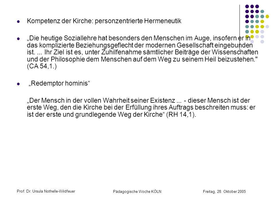 Prof. Dr. Ursula Nothelle-Wildfeuer Pädagogische Woche KÖLN Freitag, 28. Oktober 2005 Kompetenz der Kirche: personzentrierte Hermeneutik Die heutige S