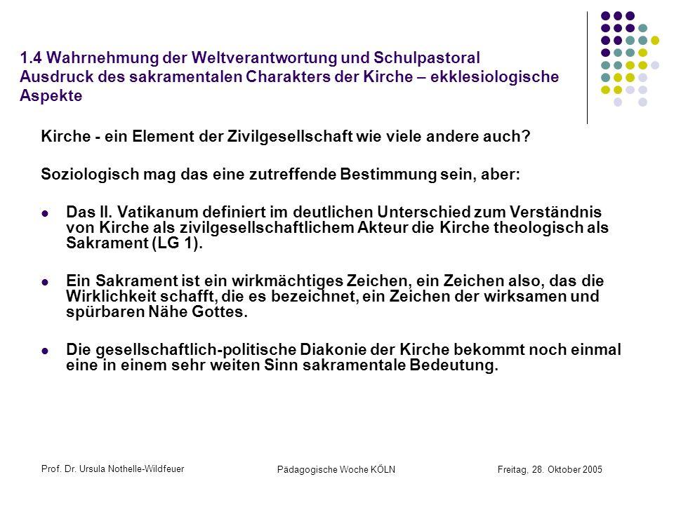 Prof. Dr. Ursula Nothelle-Wildfeuer Pädagogische Woche KÖLN Freitag, 28. Oktober 2005 1.4 Wahrnehmung der Weltverantwortung und Schulpastoral Ausdruck