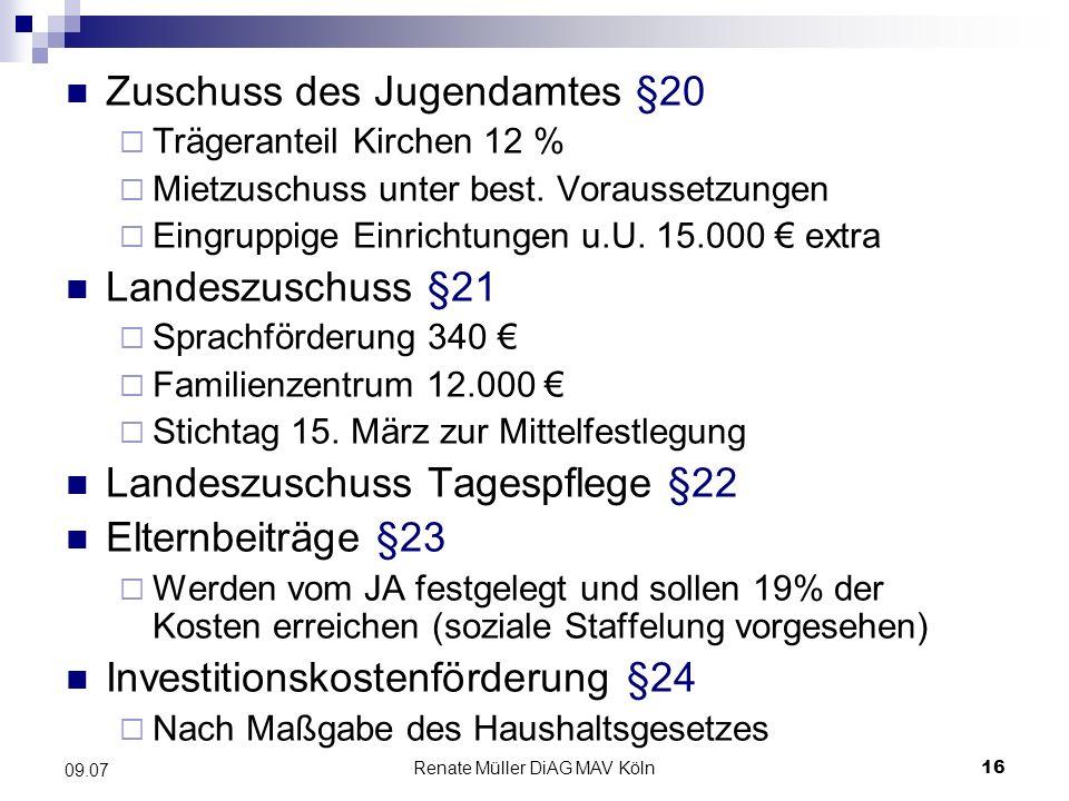 Renate Müller DiAG MAV Köln16 09.07 Zuschuss des Jugendamtes §20 Trägeranteil Kirchen 12 % Mietzuschuss unter best. Voraussetzungen Eingruppige Einric