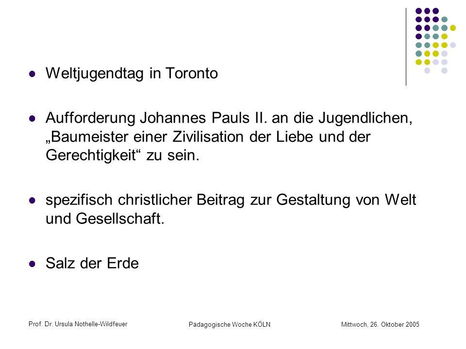 Prof. Dr. Ursula Nothelle-Wildfeuer Pädagogische Woche KÖLN Mittwoch, 26. Oktober 2005 Weltjugendtag in Toronto Aufforderung Johannes Pauls II. an die