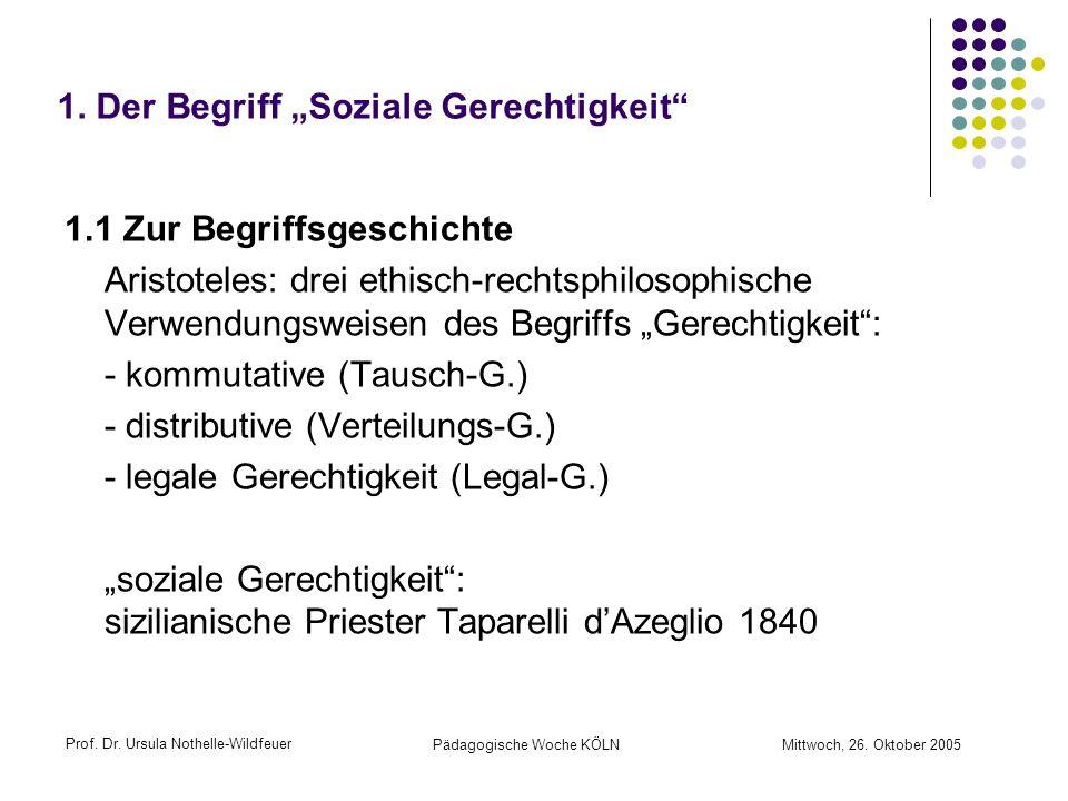 Prof. Dr. Ursula Nothelle-Wildfeuer Pädagogische Woche KÖLN Mittwoch, 26. Oktober 2005 1. Der Begriff Soziale Gerechtigkeit 1.1 Zur Begriffsgeschichte