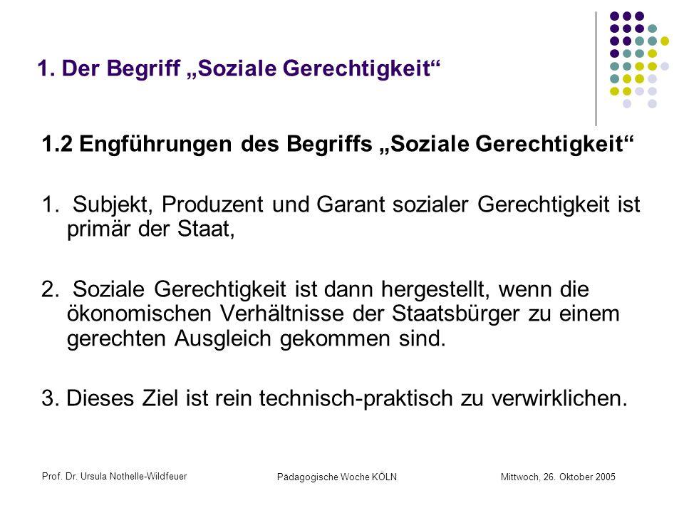 Prof. Dr. Ursula Nothelle-Wildfeuer Pädagogische Woche KÖLN Mittwoch, 26. Oktober 2005 1. Der Begriff Soziale Gerechtigkeit 1.2 Engführungen des Begri