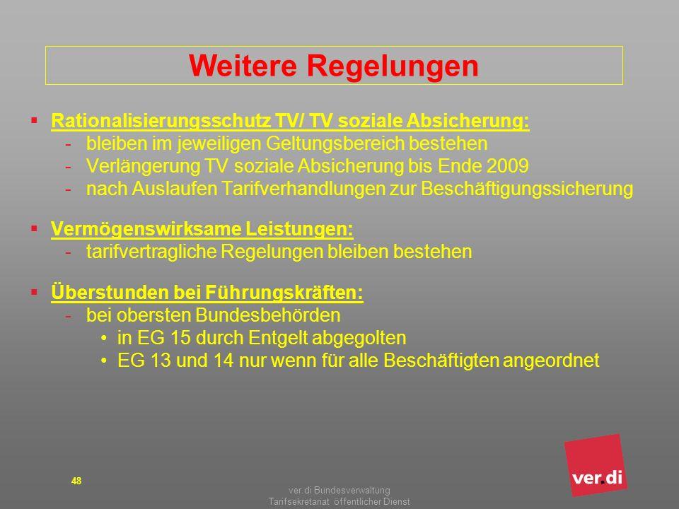 ver.di Bundesverwaltung Tarifsekretariat öffentlicher Dienst 48 Weitere Regelungen Rationalisierungsschutz TV/ TV soziale Absicherung: -bleiben im jew
