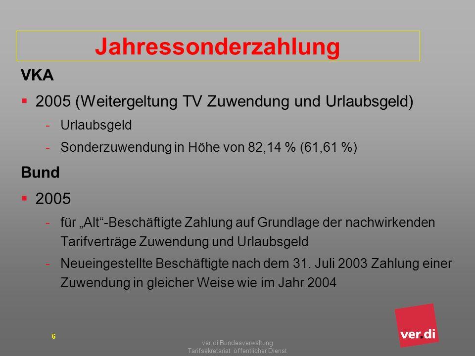 ver.di Bundesverwaltung Tarifsekretariat öffentlicher Dienst 6 Jahressonderzahlung VKA 2005 (Weitergeltung TV Zuwendung und Urlaubsgeld) -Urlaubsgeld