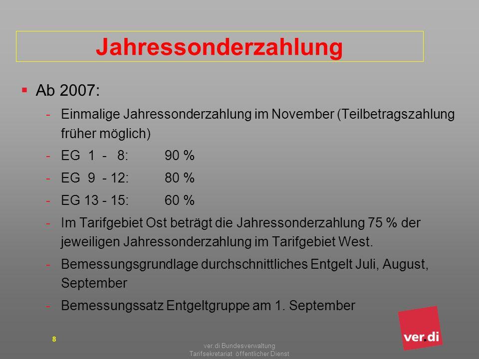 ver.di Bundesverwaltung Tarifsekretariat öffentlicher Dienst 8 Jahressonderzahlung Ab 2007: -Einmalige Jahressonderzahlung im November (Teilbetragszah
