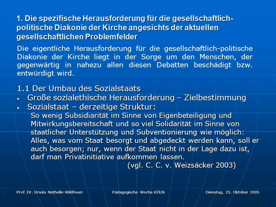 Prof. Dr. Ursula Nothelle-Wildfeuer Pädagogische Woche KÖLN Dienstag, 25. Oktober 2005 1. Die spezifische Herausforderung für die gesellschaftlich- po