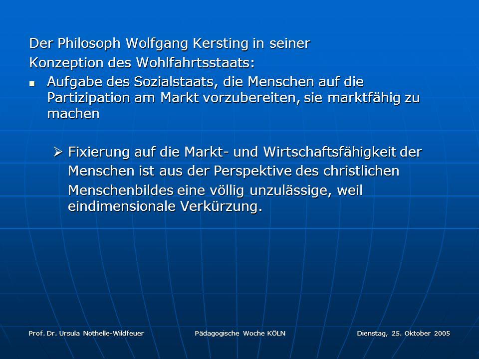 Prof. Dr. Ursula Nothelle-Wildfeuer Pädagogische Woche KÖLN Dienstag, 25. Oktober 2005 Der Philosoph Wolfgang Kersting in seiner Konzeption des Wohlfa