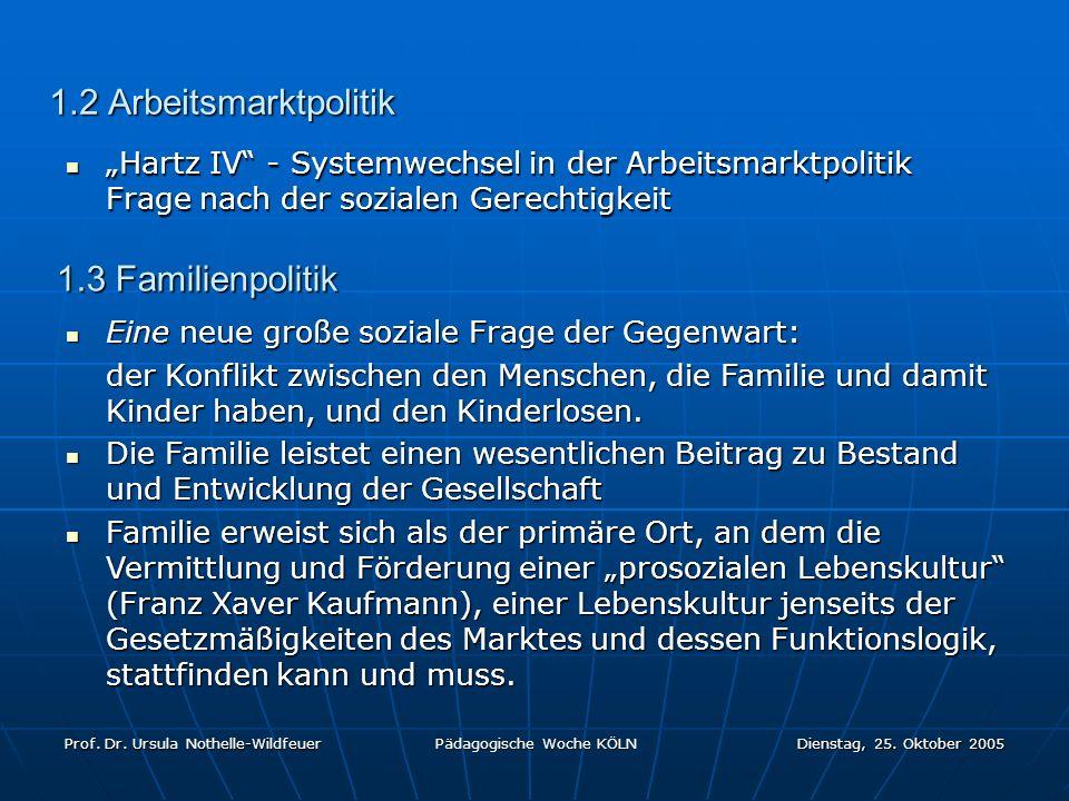 Prof. Dr. Ursula Nothelle-Wildfeuer Pädagogische Woche KÖLN Dienstag, 25. Oktober 2005 1.2 Arbeitsmarktpolitik Hartz IV - Systemwechsel in der Arbeits