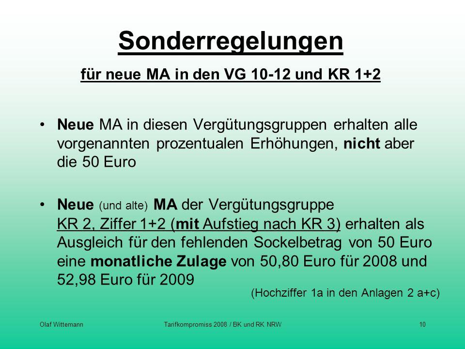Olaf WittemannTarifkompromiss 2008 / BK und RK NRW10 Sonderregelungen für neue MA in den VG 10-12 und KR 1+2 Neue MA in diesen Vergütungsgruppen erhal