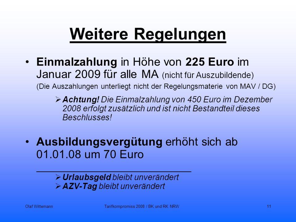 Olaf WittemannTarifkompromiss 2008 / BK und RK NRW11 Weitere Regelungen Einmalzahlung in Höhe von 225 Euro im Januar 2009 für alle MA (nicht für Auszu