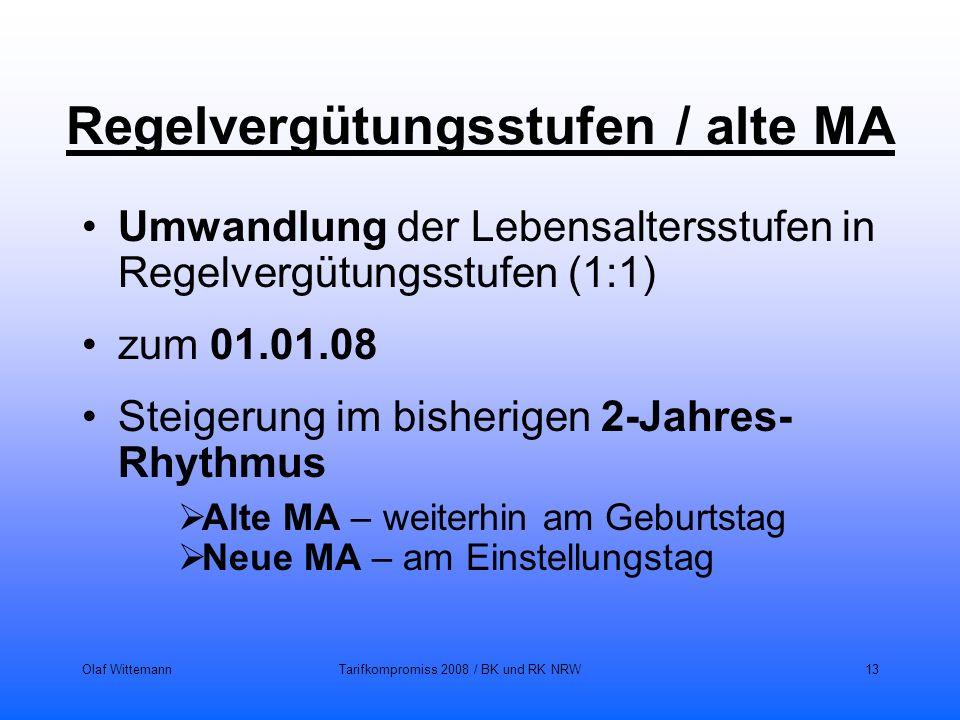 Olaf WittemannTarifkompromiss 2008 / BK und RK NRW13 Regelvergütungsstufen / alte MA Umwandlung der Lebensaltersstufen in Regelvergütungsstufen (1:1)