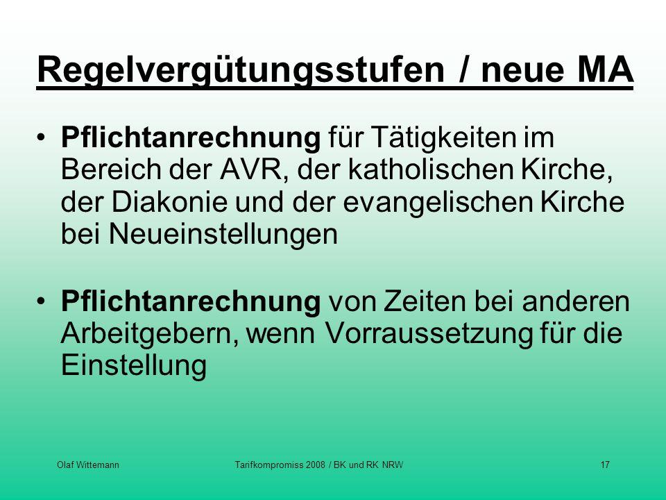 Olaf WittemannTarifkompromiss 2008 / BK und RK NRW17 Regelvergütungsstufen / neue MA Pflichtanrechnung für Tätigkeiten im Bereich der AVR, der katholi