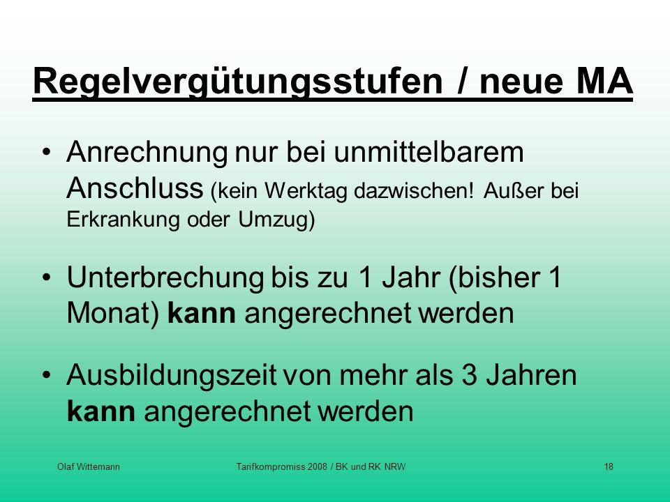 Olaf WittemannTarifkompromiss 2008 / BK und RK NRW18 Regelvergütungsstufen / neue MA Anrechnung nur bei unmittelbarem Anschluss (kein Werktag dazwisch