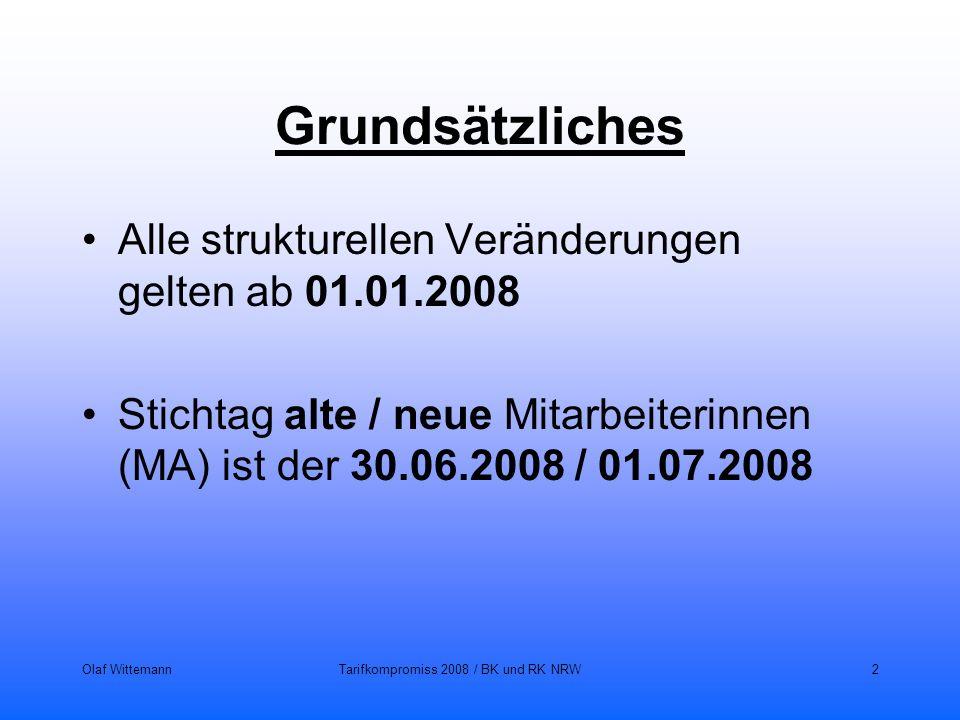 Olaf WittemannTarifkompromiss 2008 / BK und RK NRW2 Grundsätzliches Alle strukturellen Veränderungen gelten ab 01.01.2008 Stichtag alte / neue Mitarbe