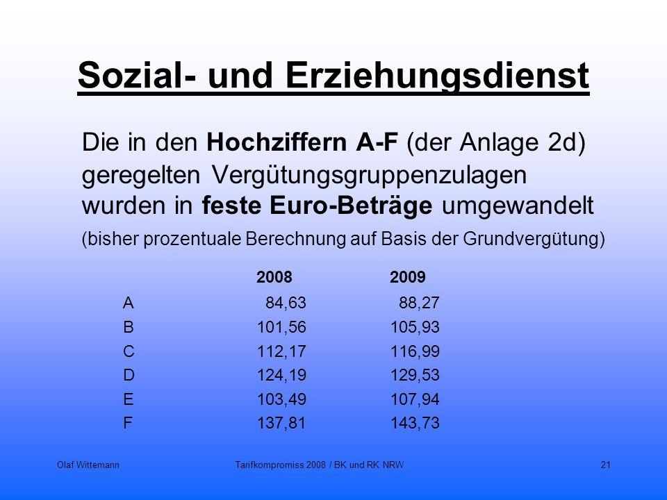 Olaf WittemannTarifkompromiss 2008 / BK und RK NRW21 Sozial- und Erziehungsdienst Die in den Hochziffern A-F (der Anlage 2d) geregelten Vergütungsgrup
