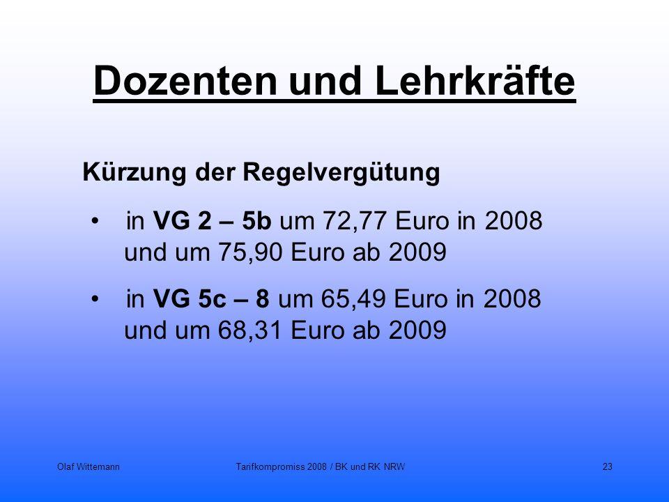 Olaf WittemannTarifkompromiss 2008 / BK und RK NRW23 Dozenten und Lehrkräfte Kürzung der Regelvergütung in VG 2 – 5b um 72,77 Euro in 2008 und um 75,9