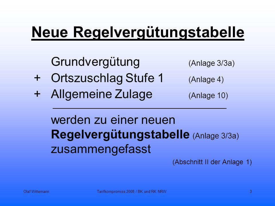 Olaf WittemannTarifkompromiss 2008 / BK und RK NRW3 Neue Regelvergütungstabelle Grundvergütung (Anlage 3/3a) + Ortszuschlag Stufe 1 (Anlage 4) + Allge