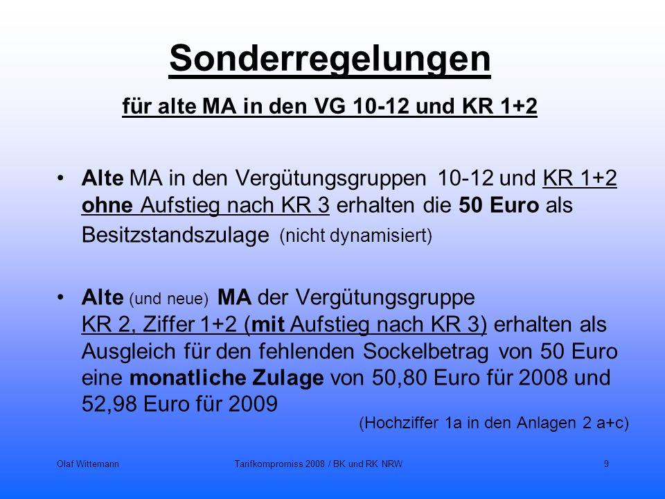 Olaf WittemannTarifkompromiss 2008 / BK und RK NRW9 Sonderregelungen für alte MA in den VG 10-12 und KR 1+2 Alte MA in den Vergütungsgruppen 10-12 und