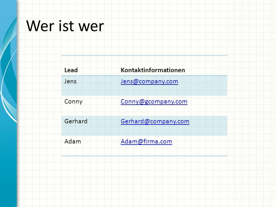 Wer ist wer LeadKontaktinformationen JensJens@company.com ConnyConny@gcompany.com Gerhard @company.com AdamAdam@firma.com