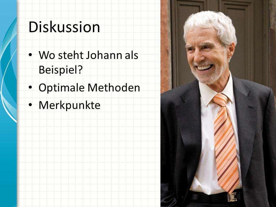 Diskussion Wo steht Johann als Beispiel? Optimale Methoden Merkpunkte