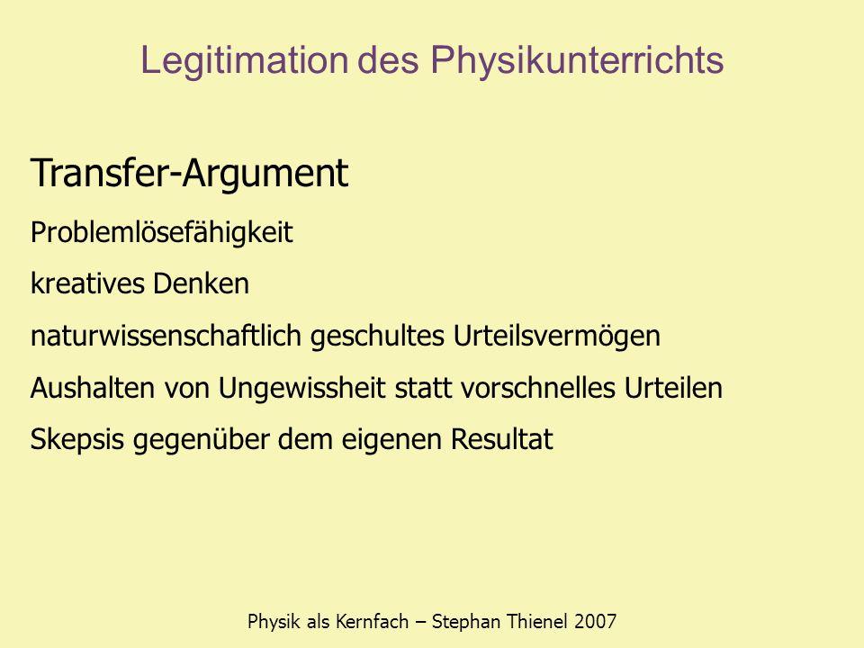 Legitimation des Physikunterrichts Physik als Kernfach – Stephan Thienel 2007 Transfer-Argument Problemlösefähigkeit kreatives Denken naturwissenschaf
