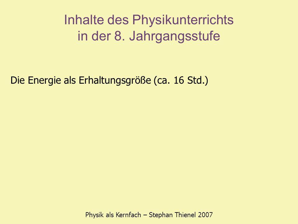 Inhalte des Physikunterrichts in der 8. Jahrgangsstufe Physik als Kernfach – Stephan Thienel 2007 Die Energie als Erhaltungsgröße (ca. 16 Std.)