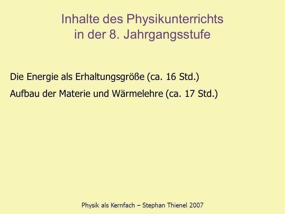 Inhalte des Physikunterrichts in der 8. Jahrgangsstufe Physik als Kernfach – Stephan Thienel 2007 Die Energie als Erhaltungsgröße (ca. 16 Std.) Aufbau