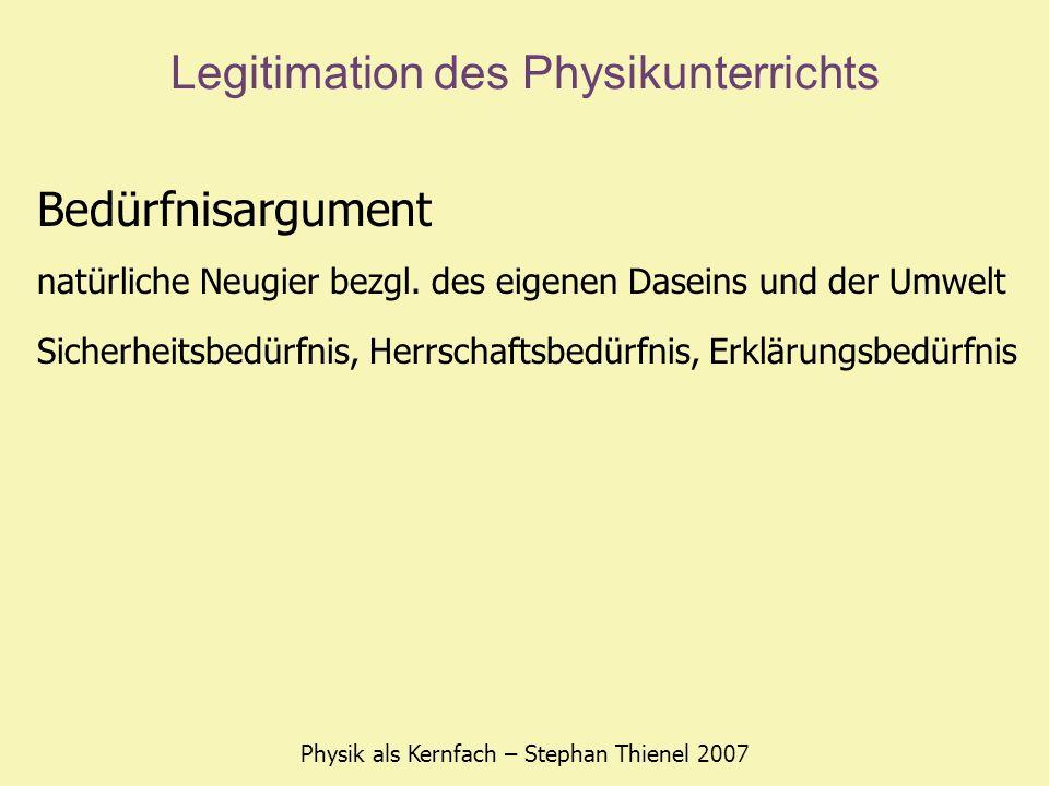 Legitimation des Physikunterrichts Physik als Kernfach – Stephan Thienel 2007 Bedürfnisargument natürliche Neugier bezgl.