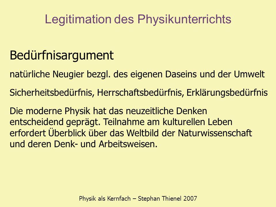 Legitimation des Physikunterrichts Physik als Kernfach – Stephan Thienel 2007 Bedarfsargument