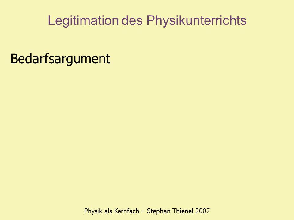 Legitimation des Physikunterrichts Physik als Kernfach – Stephan Thienel 2007 Bedarfsargument eine technisch hochentwickelte Gesellschaft braucht Naturwissenschaftler- und Technikernachwuchs nicht nur um die bestehenden Systeme am Laufen zu halten, sondern um ständig neue Erkenntnisse zu gewinnen (globale Konkurrenzfähigkeit)