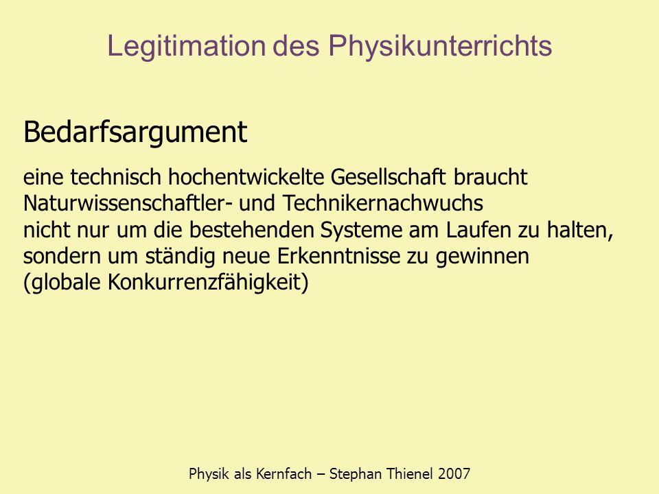 Legitimation des Physikunterrichts Physik als Kernfach – Stephan Thienel 2007 Bedarfsargument eine technisch hochentwickelte Gesellschaft braucht Natu