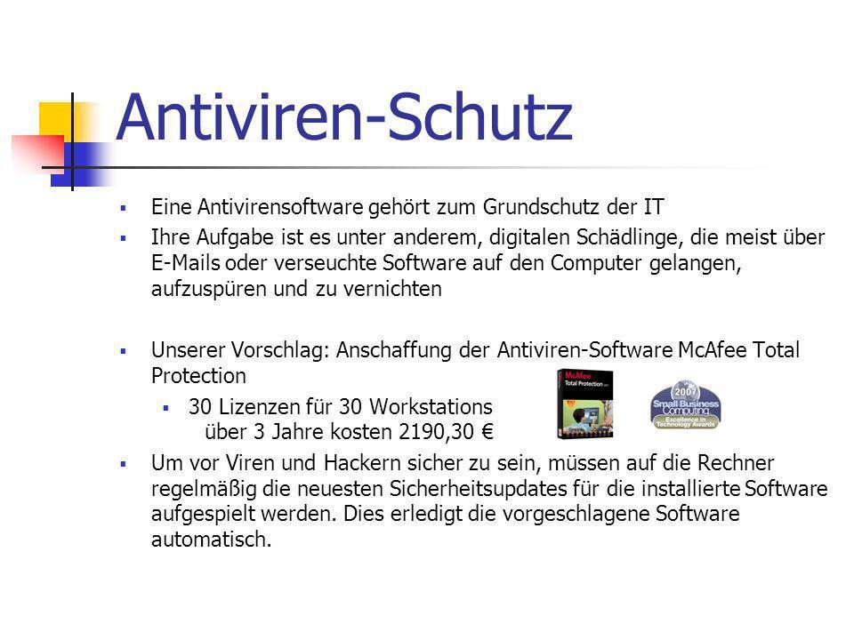 Antiviren-Schutz Eine Antivirensoftware gehört zum Grundschutz der IT Ihre Aufgabe ist es unter anderem, digitalen Schädlinge, die meist über E-Mails oder verseuchte Software auf den Computer gelangen, aufzuspüren und zu vernichten Unserer Vorschlag: Anschaffung der Antiviren-Software McAfee Total Protection 30 Lizenzen für 30 Workstations über 3 Jahre kosten 2190,30 Um vor Viren und Hackern sicher zu sein, müssen auf die Rechner regelmäßig die neuesten Sicherheitsupdates für die installierte Software aufgespielt werden.
