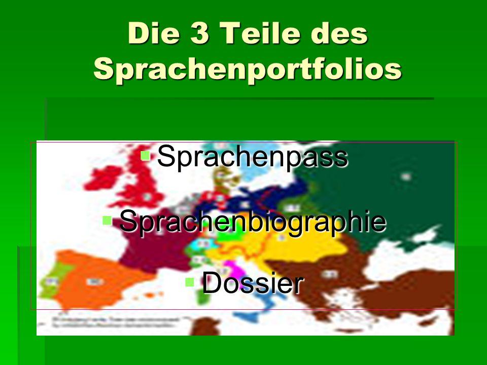 Die 3 Teile des Sprachenportfolios Sprachenpass Sprachenbiographie Dossier