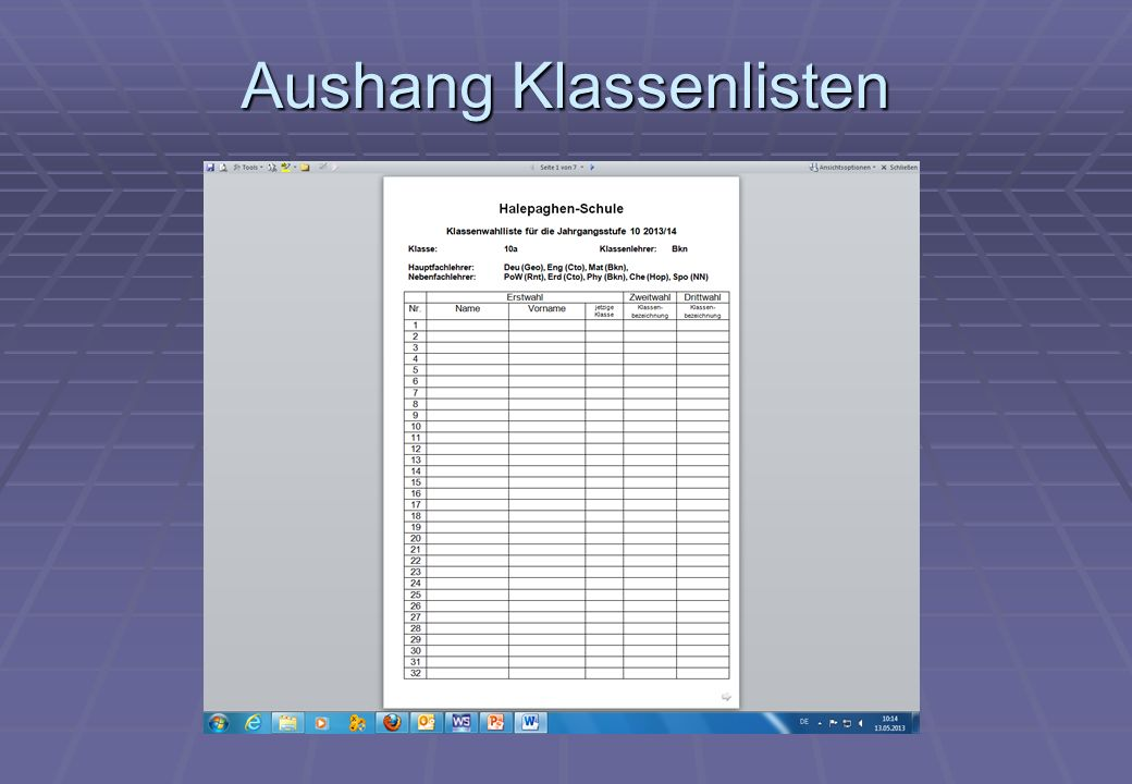 Klassen- und Kurswahlen 10 Klassen- und Kurswahlen vom 14.