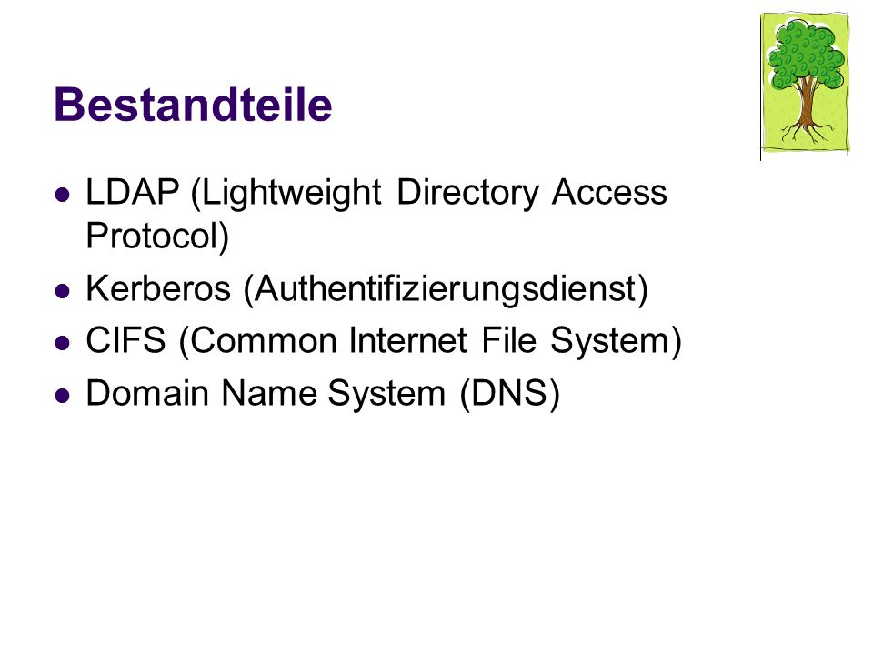 Bestandteile LDAP (Lightweight Directory Access Protocol) Kerberos (Authentifizierungsdienst) CIFS (Common Internet File System) Domain Name System (D