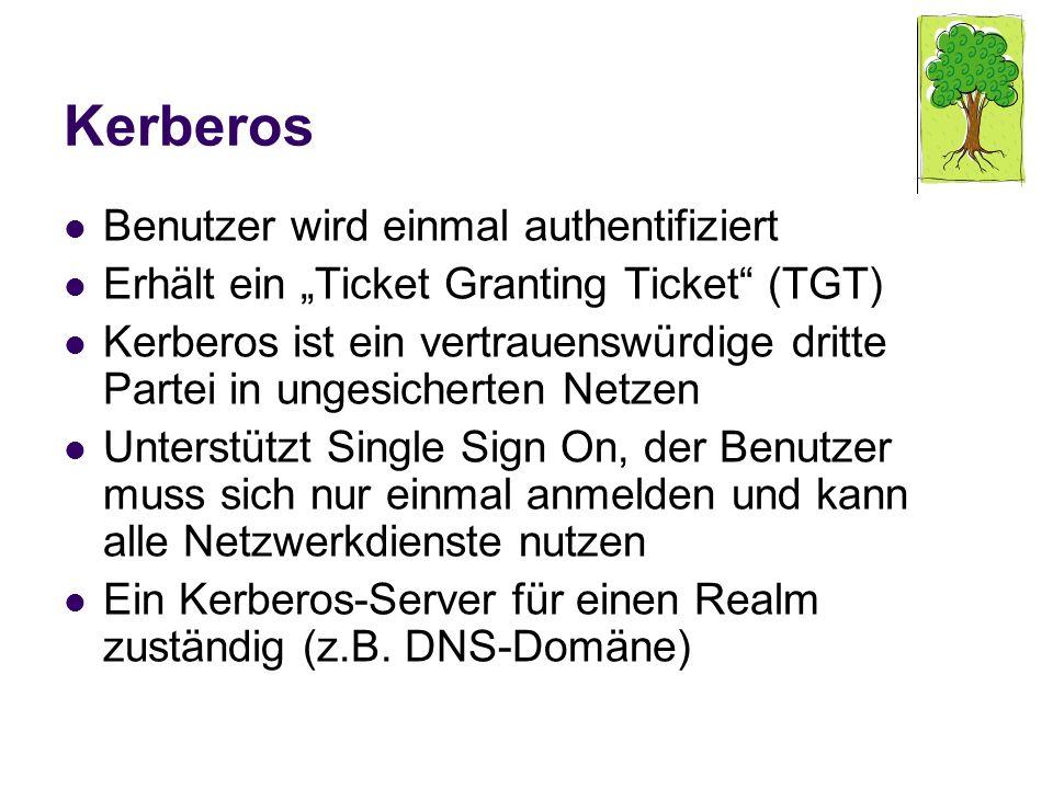 Kerberos Benutzer wird einmal authentifiziert Erhält ein Ticket Granting Ticket (TGT) Kerberos ist ein vertrauenswürdige dritte Partei in ungesicherte