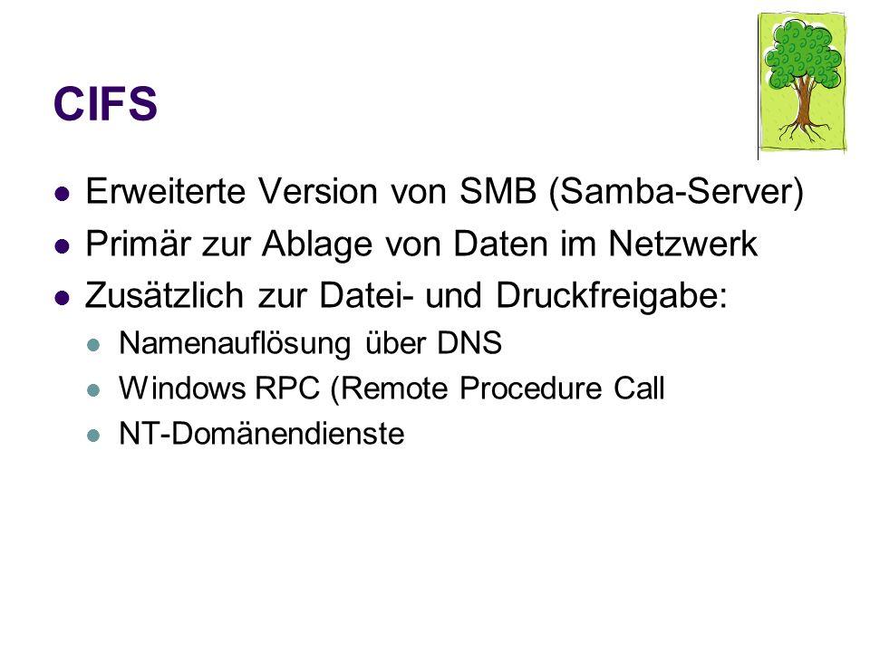 CIFS Erweiterte Version von SMB (Samba-Server) Primär zur Ablage von Daten im Netzwerk Zusätzlich zur Datei- und Druckfreigabe: Namenauflösung über DN