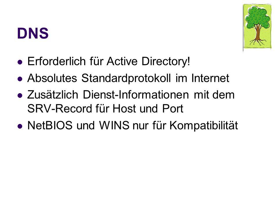 DNS Erforderlich für Active Directory! Absolutes Standardprotokoll im Internet Zusätzlich Dienst-Informationen mit dem SRV-Record für Host und Port Ne