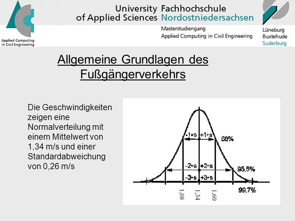 Die Geschwindigkeiten zeigen eine Normalverteilung mit einem Mittelwert von 1,34 m/s und einer Standardabweichung von 0,26 m/s Allgemeine Grundlagen des Fußgängerverkehrs